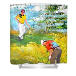 Golf Buddies #2 Shower Curtain by Betty M M Wong