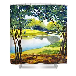 Golf Haven Shower Curtain by Betty M M Wong