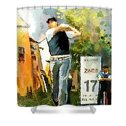 Golf In Club Fontana Austria 01 Dyptic Part 01 Shower Curtain by Miki De Goodaboom