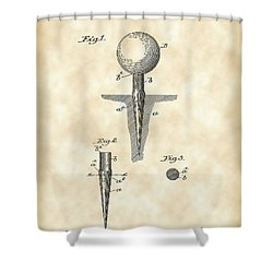 Golf Tee Patent 1899 - Vintage Shower Curtain