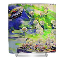 Golfbaelle In Huelle Und Fuelle   Golf Balls Galore Shower Curtain by Koro Arandia