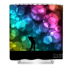 Golfer Driving Bokeh Graphic Shower Curtain