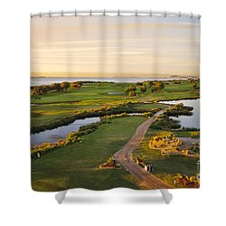 Golfing At The Gong II Shower Curtain by Ray Warren
