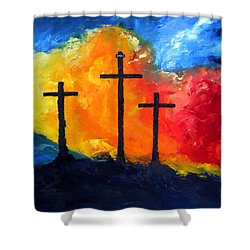 Golgotha Shower Curtain by David McGhee