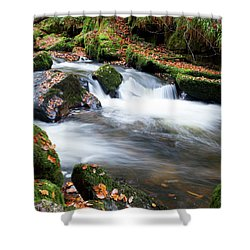 Golitha Falls IIi Shower Curtain by Helen Northcott