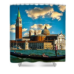 Gondola And San Giorgio Maggiore Shower Curtain by Harry Spitz