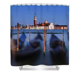 Shower Curtain featuring the photograph Gondolas And San Giorgio Maggiore At Night - Venice by Barry O Carroll
