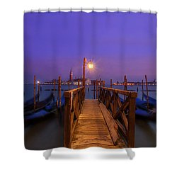 Shower Curtain featuring the photograph Gondolas At Dawn by Andrew Soundarajan