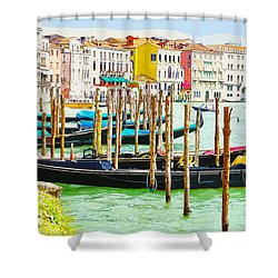 Gondolas On The Grand Canal Venice Italy Shower Curtain