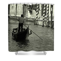 Shower Curtain featuring the photograph Gondolier In Venice   by Frank Stallone