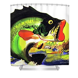 Gone Fishing Shower Curtain by Linda Simon