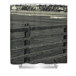 Gone Fishing In Black And White Shower Curtain