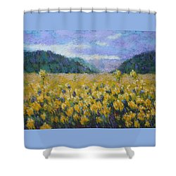 Shower Curtain featuring the painting Gone To Seed by Nancy Jolley