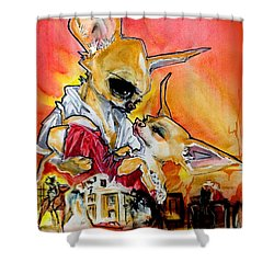Gone With The Wind Chihuahuas Caricature Art Print Shower Curtain