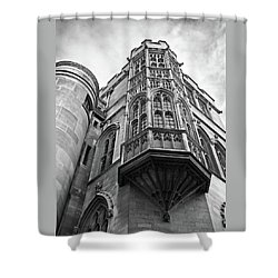 Shower Curtain featuring the photograph Gonville And Caius College Library Cambridge In Black And White by Gill Billington