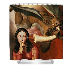 Good And Evil Shower Curtain by AJV Orsel