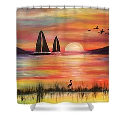 Shower Curtain featuring the painting Good Eveving by Denise Tomasura