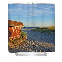 Good Harbor Sign At Sunset Shower Curtain