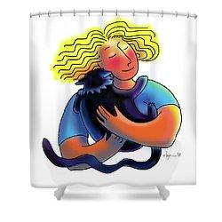 Good Luck Kitty Shower Curtain by Angela Treat Lyon