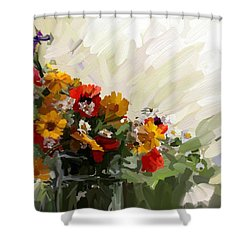 Good Morning Flowers Shower Curtain