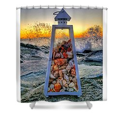 Shell Island Lighthouse Shower Curtain by Lauren Fitzpatrick