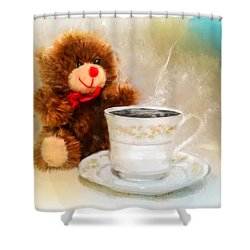 Good Morning Teddy Shower Curtain by Mary Timman