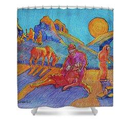 Good Samaritan Parable Painting Bertram Poole Shower Curtain