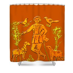 Good Shepherd Shower Curtain by Asok Mukhopadhyay