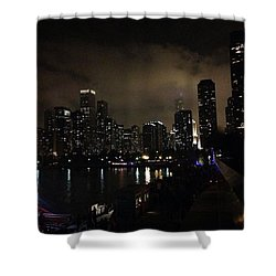 Chicago Skyline By Night Shower Curtain