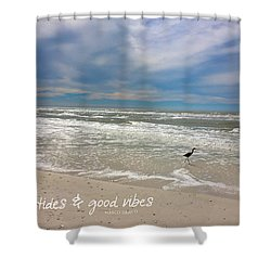 Shower Curtain featuring the painting Good Vibes by Tom Roderick