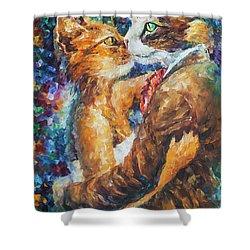 Goodbye My Miau  Shower Curtain by Leonid Afremov