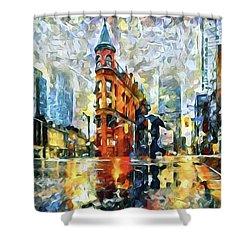 Gooderham Flatiron Building In The Rain Shower Curtain