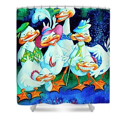 Goofy Gaggle Of Grinning Geese Shower Curtain by Hanne Lore Koehler