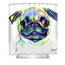 Google Eyed Pug Shower Curtain