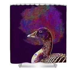 Shower Curtain featuring the digital art Goose Bird Wild Goose  by PixBreak Art