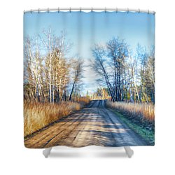 Goose Lake Road Shower Curtain by Theresa Tahara