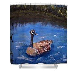 Shower Curtain featuring the painting Goose by Leslie Allen