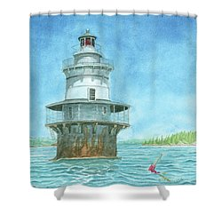 Goose Rocks Light At High Tide Shower Curtain by Dominic White
