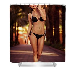 Gorgeous Female On The Beach Shower Curtain