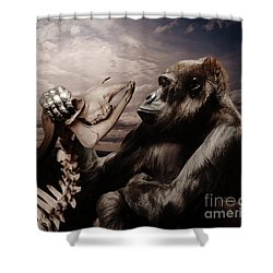 Shower Curtain featuring the photograph Gorilla And Bones by Christine Sponchia