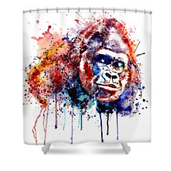 Shower Curtain featuring the mixed media Gorilla by Marian Voicu