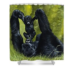Gorilla Playing With Baby Shower Curtain