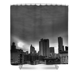 Gotham Black And White Shower Curtain by Randy Aveille