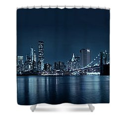Shower Curtain featuring the photograph Gotham City Skyline by Sebastien Coursol
