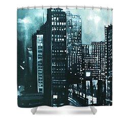 Gotham Painting Shower Curtain by Maja Sokolowska