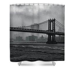Manhattan Bridge In A Storm Shower Curtain