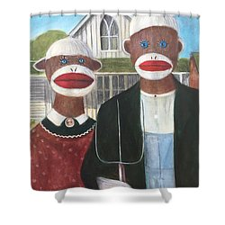 Shower Curtain featuring the painting Gothic American Sock Monkeys by Randol Burns