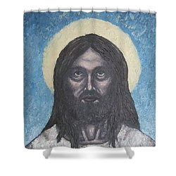 Shower Curtain featuring the painting Gothic Jesus by Michael  TMAD Finney