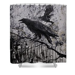 Gothic Raven Crow Painting  Shower Curtain