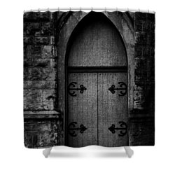 Gothic Door Memphis Church Bw Shower Curtain by Lesa Fine